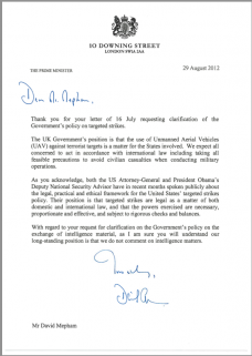 Reply from Downing Street regarding the targets of drone strikes