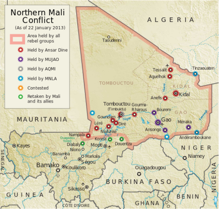Map of the Tuareg rebellion in Azawad, Northern Mali showing rebel attacks as of April 5, 2012