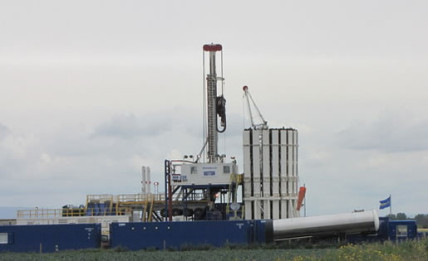 A drilling rig testing for the possibility of fracking in Lancashire